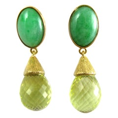 Earrings with Jade Cabochons