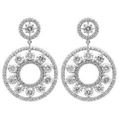 Earrings with Round Diamonds 6.58 Carat