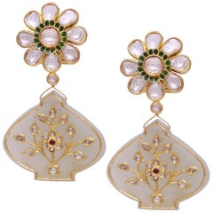 Earrings with Uncut Diamonds & Enamel withJade Hangings with Diamonds and Rubies