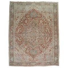 Earth Color Vintage Persian Heriz Rug
