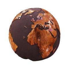 Earth Globe Volcanic Powder and Teak n°A Sculpture