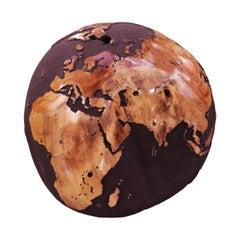 Earth Globe Volcanic Powder and Teak n°B Sculpture