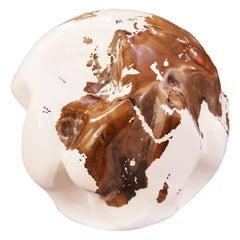 Earth Globe White and Teak Sculpture
