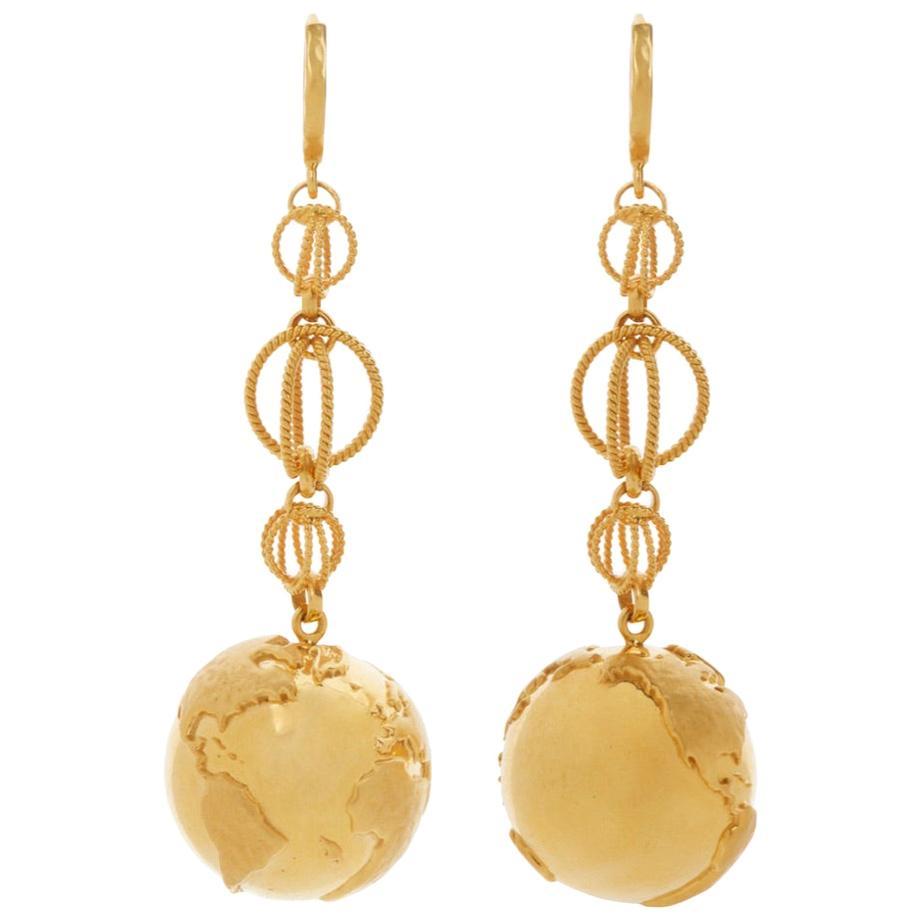 Earth Hoop Earrings 18 Karat Gold
