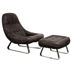 'Earth' Leather Lounge Chair and Ottoman by Percival Lafer, circa 1960, Signed