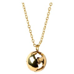 Earth necklace in yellow gold plating