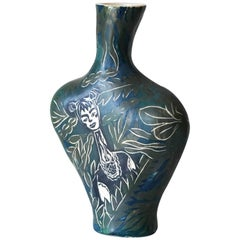 Earth Needs Us Both, Porcelain Vase with Underglaze Sgraffito Detailing