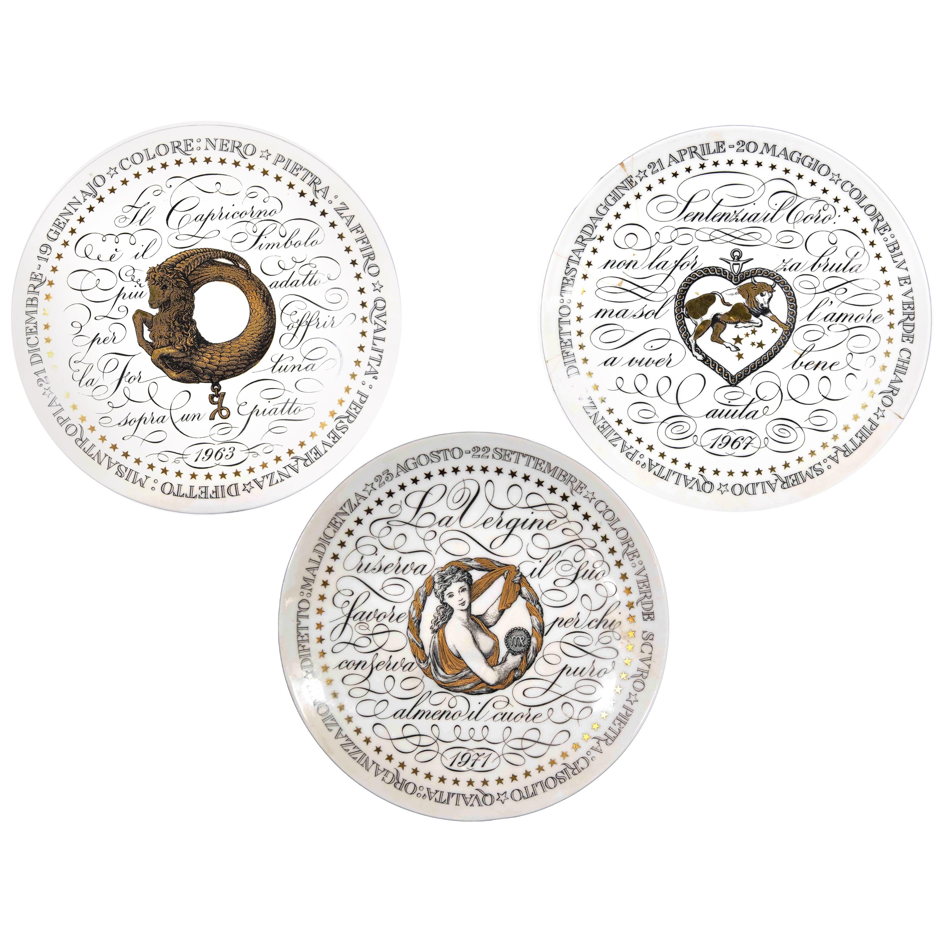 Earth Signs, Set of 3 Plates from Zodiac Plate Series by P. Fornasetti, 1965