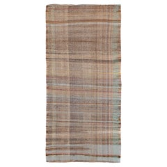 Earth Tone Vintage Persian Kilim Runner Rug. Size: 3 ft 3 in x 7 ft 2 in