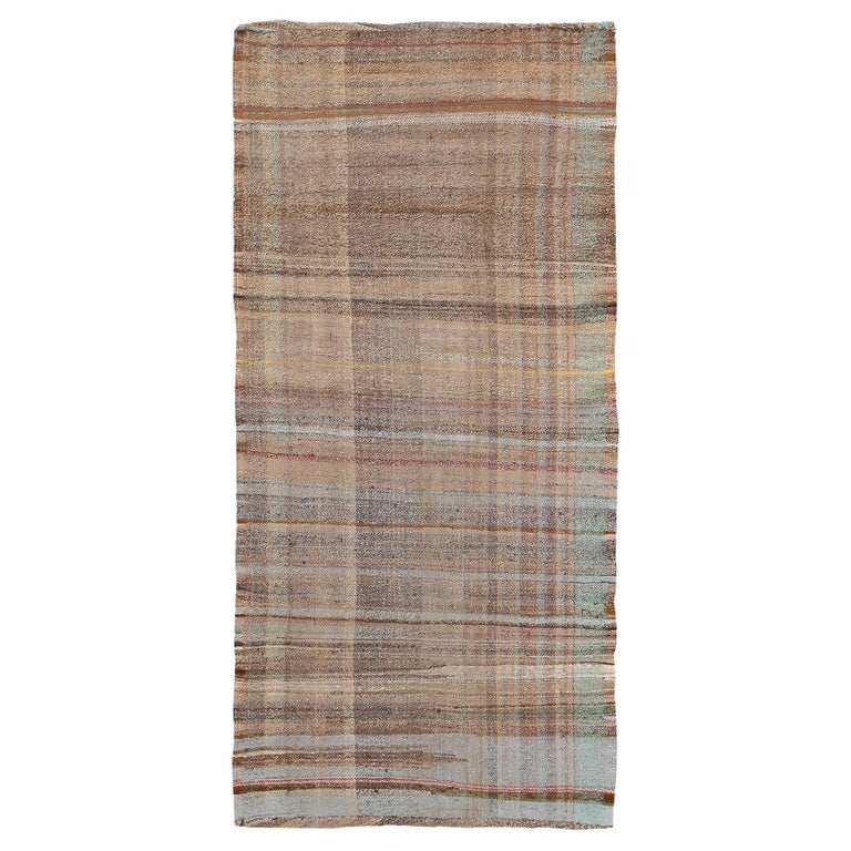 Earth Tone Vintage Persian Kilim Runner Rug. Size: 3 ft 3 in x 7 ft 2 in For Sale