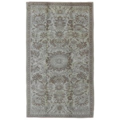 Earth Tone Vintage Turkish Oushak Rug with All-Over Floral Design