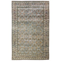Earth-Toned Antique Persian Yazd Rug with Unique All-Over Sub-Geometric Design
