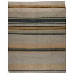 Earth Tones Tibetan Design Stripe Rug