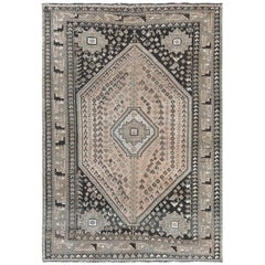 Earth Tones Vintage & Cropped Thin Persian Shiraz Geometric Design Handmade Rug