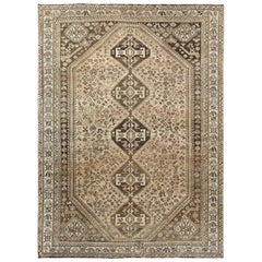 Earth Tones Vintage Geometric Design Persian Shiraz Worn Down Handmade Rug