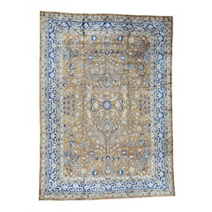 Earth Tones, Navy 1920 Vintage Hand Knotted  Persian Sarouk Rug