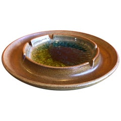 Earthenware and Crackled Glass Ashtray by Robert Maxwell