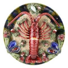 Earthenware Seafood Lobster Plate by J. Caldas Da Rainha, 1930
