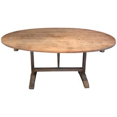 Earthy Large 19th Century Oval French Wine Tasting Dining Table