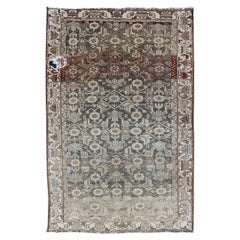 Earthy Tone Vintage Persian Hamadan Rug with All-Over Pattern and Gray Blue
