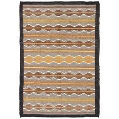 Earthy Tones USA Navajo Kilim rug with Black Border Tribal Design