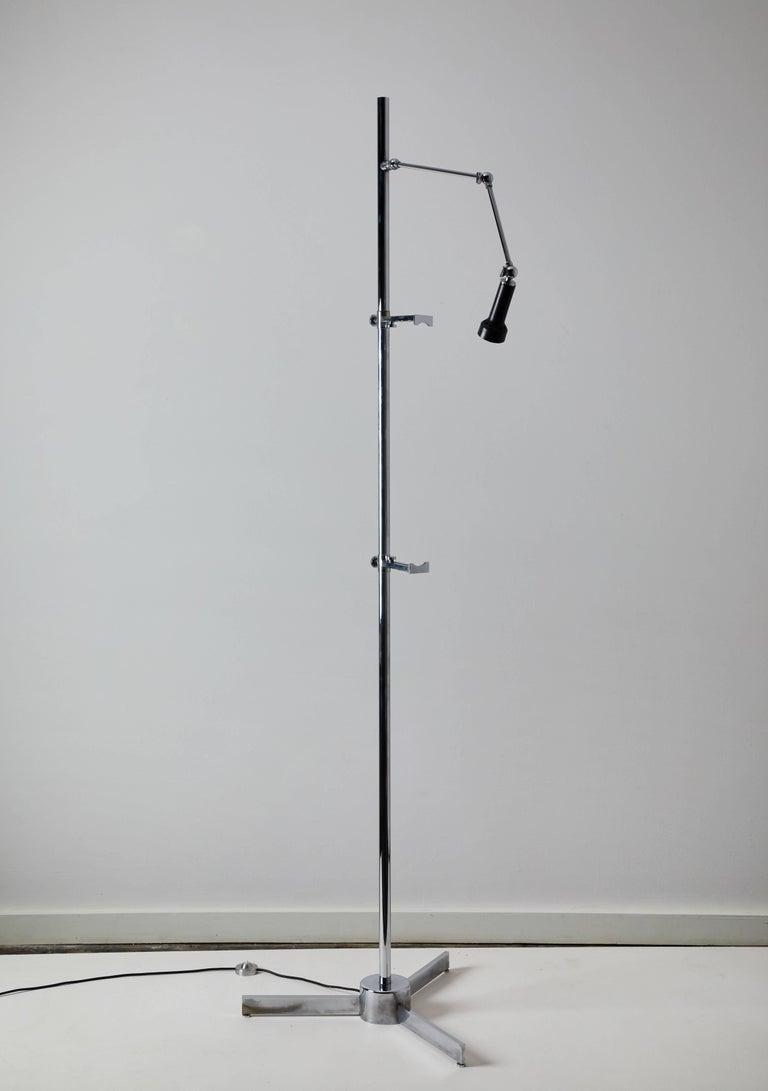 Brass Easel Floor Lamp by Angelo Lelli for Arredoluce For Sale