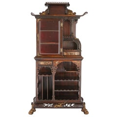 East Asian Style Wooden Display Cabinet with Gilt Bronze Mounts