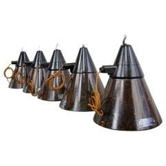 East German Bakelite Conical Factory Lights, circa 1950s
