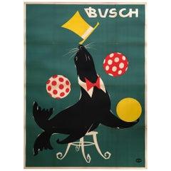 East German Busch Circus 1967 Juggling Seal Poster