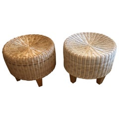East Hampton Pair of Woven Rattan Round Ottomans