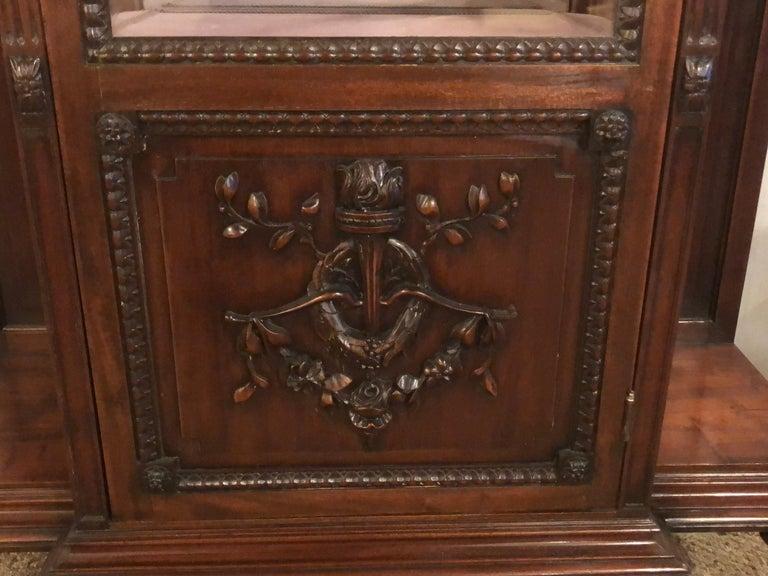 East Lake Victorian 19th Century Vitrine or Curio Cabinet / Bookcase 8