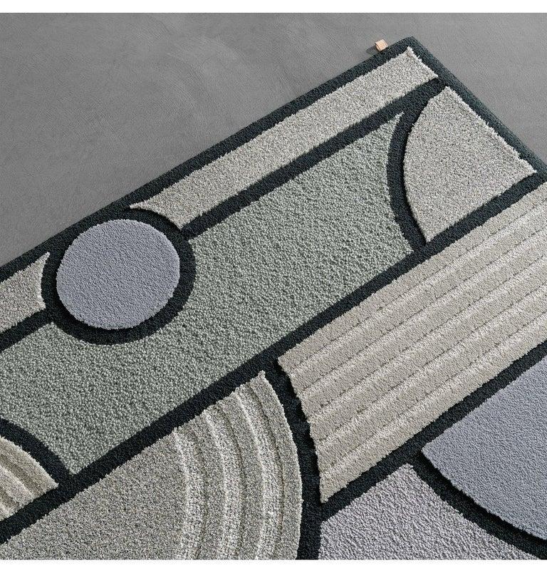 Modern East of the Sun Rug, Grey Rectangular Wool Geometric, Lara Bohinc for Kasthall For Sale