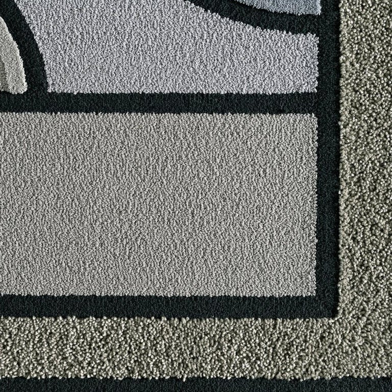 Swedish East of the Sun Rug, Grey Rectangular Wool Geometric, Lara Bohinc for Kasthall For Sale