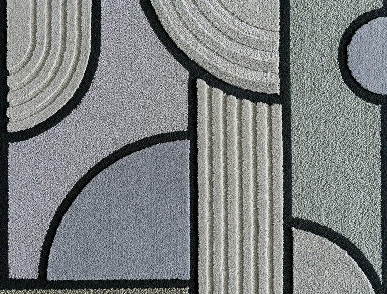 Contemporary East of the Sun Rug, Grey Rectangular Wool Geometric, Lara Bohinc for Kasthall For Sale