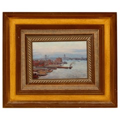 'East River, NYC Harbor' Unsigned Painting Oil on Board, Early 20th Century