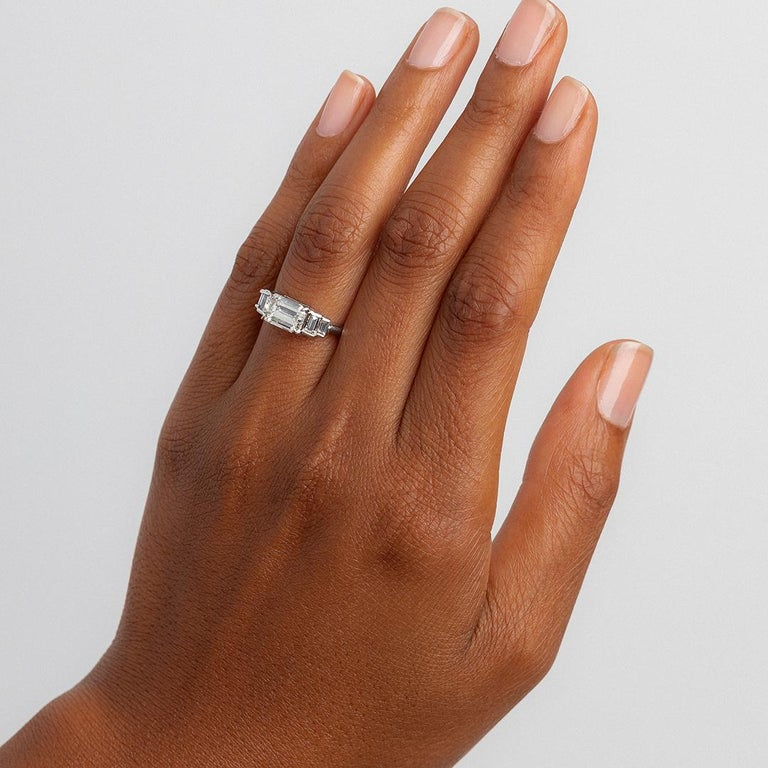 East West 1 75 Carat Diamond Platinum Engagement Ring At 1stdibs