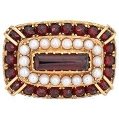 East West Garnet Seed Pearl Cocktail Ring Vintage 18 Karat Gold Estate Jewelry
