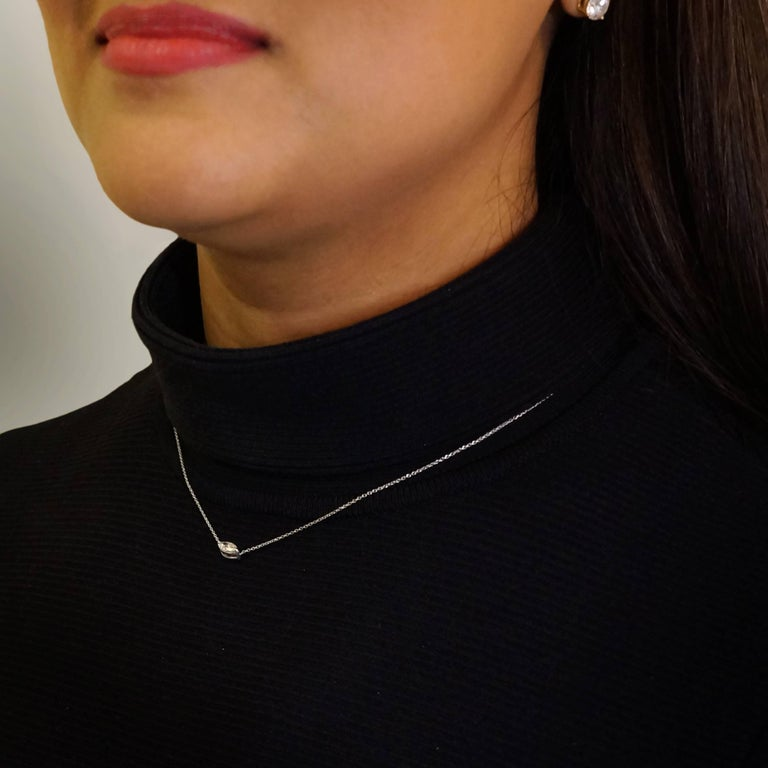 Simple yet elegant, Ri Noor's East West Marquise Diamond Solitaire Necklace sparkles as the intricate cuts of the stones reflect light. The necklace features a marquise diamond set in 18k white gold. Designed to transition from day to night, the