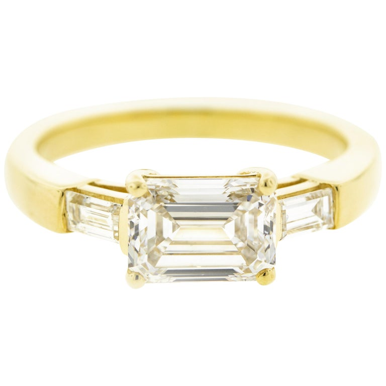 East West Three-Stone Emerald Cut Diamond Engagement Ring 'GIA' For Sale