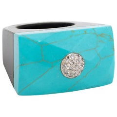 East West Turquoise Onyx Diamond Cocktail Ring
