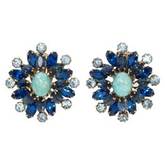 Easter Turquoise Cabochon, Sapphire, Aquamarine Crystal Clip on Earrings, 1900s