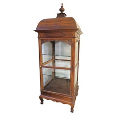 Eastern European Glass Vitrine with Carved Wood Frame and Details