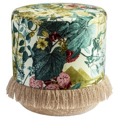 Eastern Nights, Contemporary Printed Velvet and Natural Strew Pouf by Vito Nesta