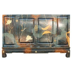 Eastern Sideboard 1970 Lotus Flowers Totally Hand Painted Lacquer Nymphs