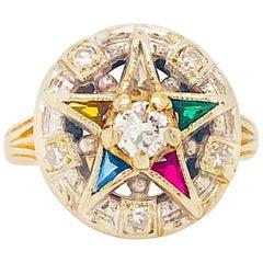 Eastern Star Diamond and Gemstone Estate Ring 14 Karat Gold Spiritual Star Ring
