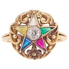 Eastern Star Ring Vintage Estate Jeweled Diamond Floral Eastern Star Ring