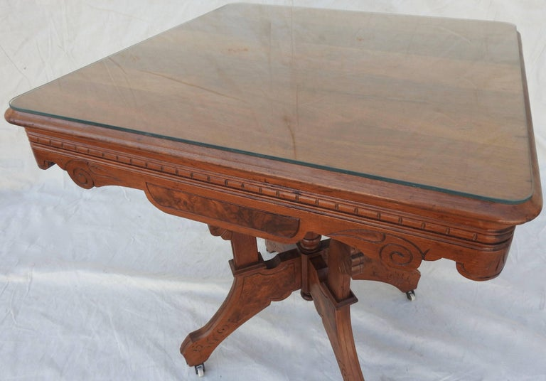 Eastlake Burled Walnut Table with Glass Top For Sale 4
