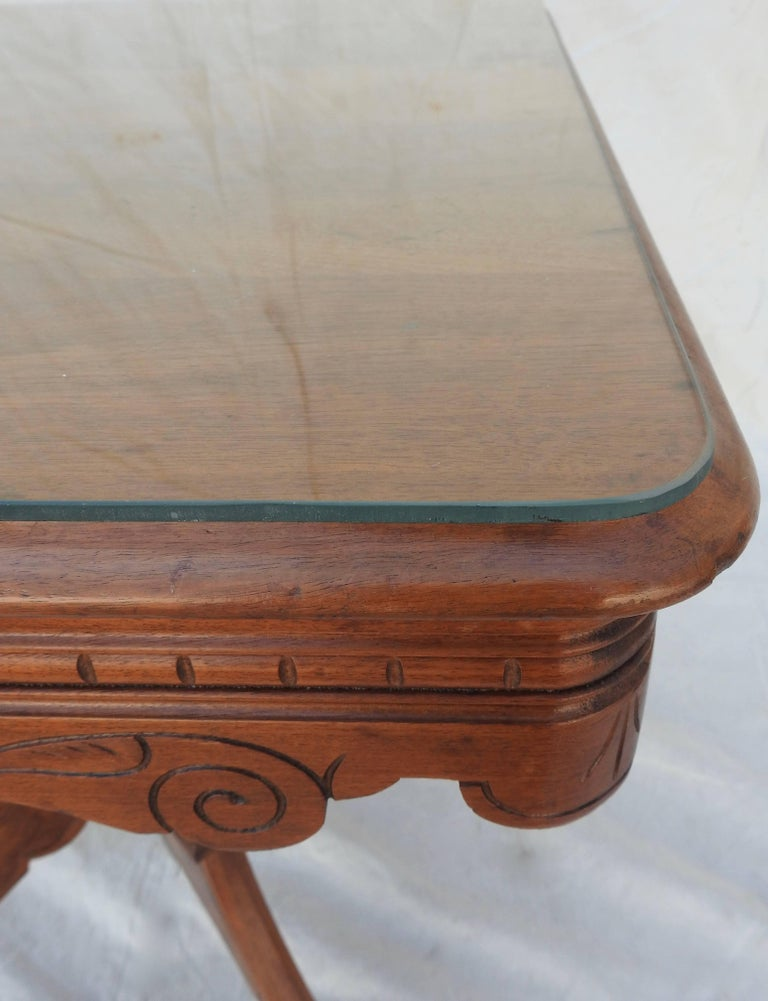 Eastlake Burled Walnut Table with Glass Top For Sale 9