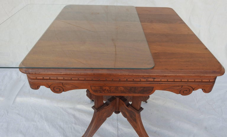 Eastlake Burled Walnut Table with Glass Top For Sale 11
