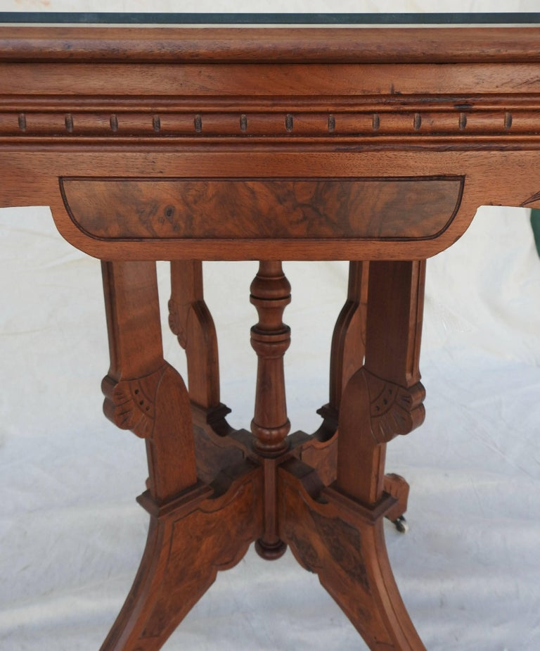 Eastlake Burled Walnut Table with Glass Top For Sale 3